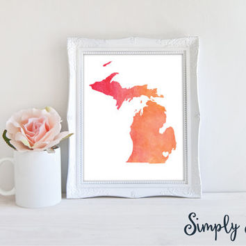 State Hometown Print - Watercolor Print - Customized State Pride Print with City location - State Wall Art - Hometown Print - State Print