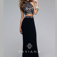 Faviana 7757 Lace Crop Top Formal Prom Gown