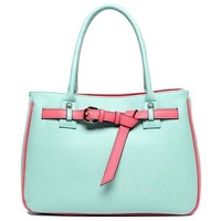 High Quality Candy Color Buckles Purse Tote Handbag Bag