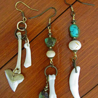 Trinity Bone and Turquoise Earrings