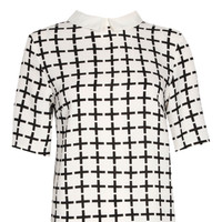 Nikki Grid Print Contrast Collar Boxy Blouse