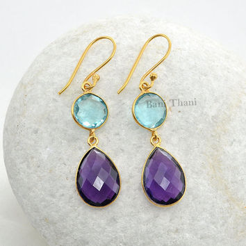 Aqua Quartz 10mm and Amethyst Quartz 12mm x 16mm Faceted Micron Gold Plated 925 Sterling Silver Earrings - #9689