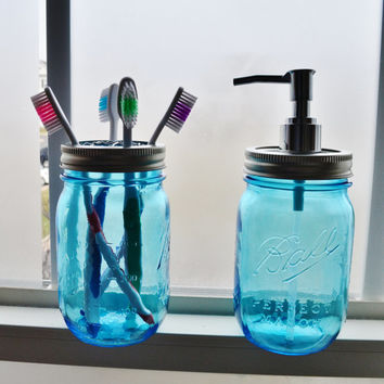 2 Heritage Blue Glass Ball Pint Mason Jar Soap Dispenser and Toothbrush Holder (Caddy) Set - Bathroom Gift Set - Silver Chrome Soap Pump