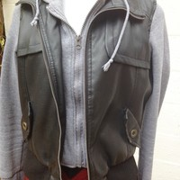 Black Faux Leather Jacket ( with Hoodie) / Levine's Boutique