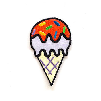 Ice Cream Iron on Patch Size 4.8 x 8.3 cm