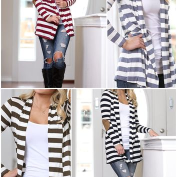 Striped Cardigan w/Elbow Patches
