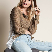 Mocha Lace Crochet Slouch Sweater