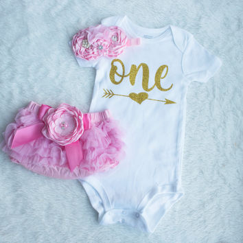 Girl birthday outfit, 1st birthday girl, gold pink outfit, first birthday girl, cake smash outfit, pink and gold, pink birthday outfit