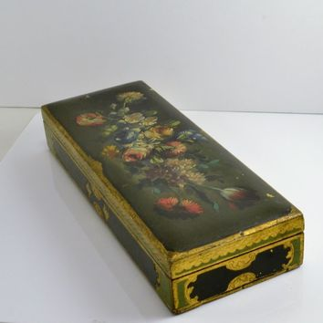 Italy Florentine Toleware Box - Hand Painted Floral Bouquet - Gold Gilt - 3 Removable Dividers - Jewelry Stamps Gloves