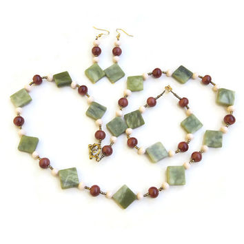 Avocado Green Brown Cream Jewelry Set, Long Stone Necklace Bracelet Earrings, Geometric Art Deco Gemstone, OOAK Unique ALFAdesigns