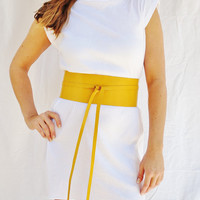 Yellow Pinstrap Leather Obi Belt Genuine Leather Womens Japanese Style