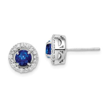 925 Sterling Silver Rhodium-plated Diamond & Sapphire Circle Post Earrings
