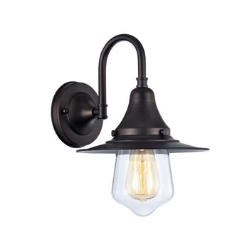 """Ironclad, Industrial-Style 1 Light Rubbed Bronze Wall Sconce 9"""" Wide"""
