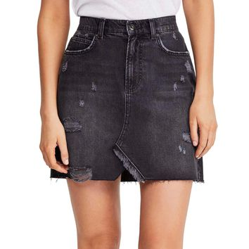 Free People Hallie Distressed Denim Skirt in Black
