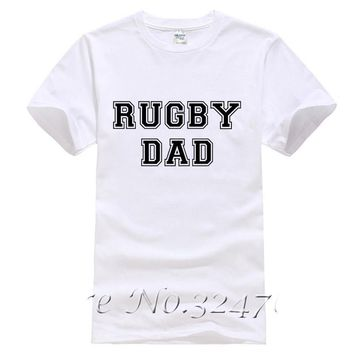 Rugby Dad White T-Shirts - Men's Crew Neck Novelty Top Tee