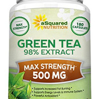 Green Tea Extract Supplement with EGCG - 180 Capsules - Max Potency Green Tea Fat Burner 500 mg Pills for Weight Loss, Boost Metabolism & Heart Health, All-Natural Low Caffeine Diet Detox Antioxidant