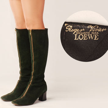 60s Roger Vivier for Loewe Tall Boots /  Hunter Green Suede Zippered Boots / Mod Go Go Retro Mid Heel High Boots
