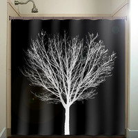 white winter tree black shower curtain bathroom decor fabric kids bath white black custom color curtains
