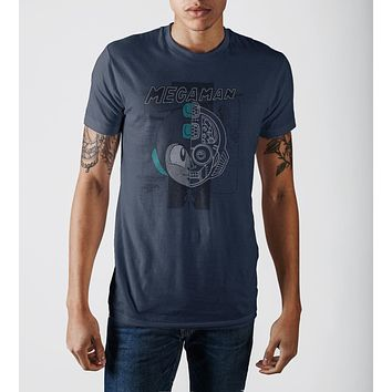 Capcom MegaMan Cool Digital Graphic Print Navy Blue T-shirt