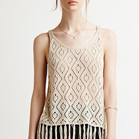 Fringed Diamond-Patterned Sweater