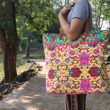 Summer Large Tote Canvas bag Summer Bag Colorful Neon Printed Canvas Tribal Hobo Hippie bag Weekender bag Beach bag Boho Bag Festival Purse.