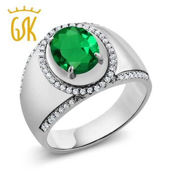 new type annulus women olive green ring 2.99 Ct Oval Green Simulated Emerald 100% real 925 Sterling Silver Mens Ring jewelry