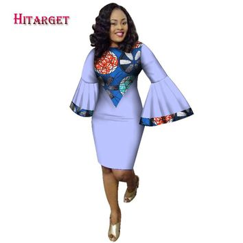 Hitarget 2017 Fashion african style dresses for women african women clothing robe bazin riche maxi Speaker sleeves dress WY2113