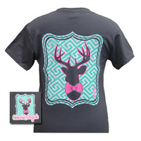 Girlie Girl Originals Collection Preppy Deer Bow Country Charcoal Bright T Shirt