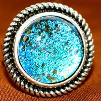 Silver Ring with Blue Glass Stone