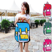 Stylish 3D Jump Style 2D Drawing From Cartoon Paper Bag Comic Backpack Bag PFZ