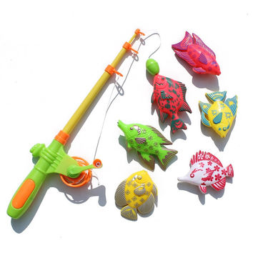 7pcs Set Magnetic Fishing Toy Game Kids Rod Bait 3D Fish Baby Bath Toys Outdoor Fun W007