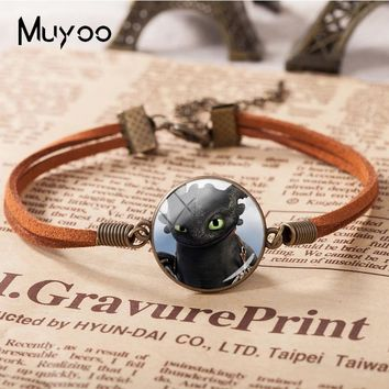 2018 New How To Train Your Dragon Leather Bracelet A Tale Of Dragons Bracelets Glass Dome Jewelry Mother's Day Gift For Women