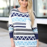 Navy Printed Sweater With Pocket