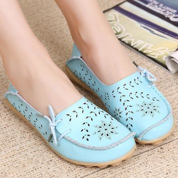 Women's flats Fashion Genuine Leather Shoes Slip on Ballet Moccasin Women Flat Nurse