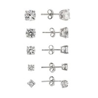 Sterling Silver 10.44 TCW CZ Stud Earrings (Set of 5)