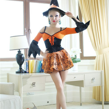 Shoulder Cutout Sheath Halloween Witch Costume Mini Skater Dress Set