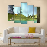 Illustration Of A Surreal Landscape Multi Panel Canvas Wall Art