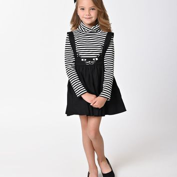 Unique Vintage Kids Sabrina Black Cat Suspender Skirt