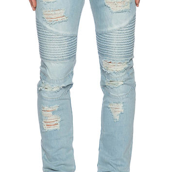 Stampd Distressed Moto Jean in Blue