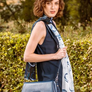 Corte-Saffiano Leather Shoulder Bag-Midnight Blue