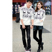 Fashion Christmas Deer Pattern Hooded Sweater
