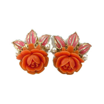 Vintage Coro Screwback Earrings, Orange Rose, Faux Pearl, Gold Tone 1950s Floral Earrings