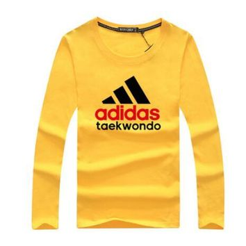 Adidas Spring Autumn Fashion Women Men Casual Print Long Sleeve Sweater Pullover Top Sweatshirt Yellow