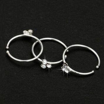 ac DCCKO2Q Wig Thin 3 Crystal Silver Diamante Nose Ring Hoop Stud-Sparkly Crystal Nose Ring Earrings M8694