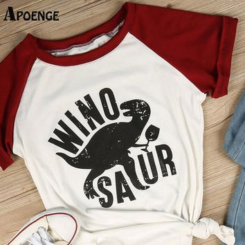 APOENGE Hot Sale Winosaur Dinosaur Funny Letter Printed T-Shirts Womans Casual Contact Color Printed T Shirts Femme Tops QN140
