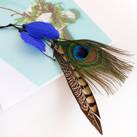 Carnival Festival Headdress bands hair Bohemia Peacock Feather Headband