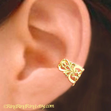 Princess Filigree ear cuff Gold brass earring jewelry - earcuff clip 080312