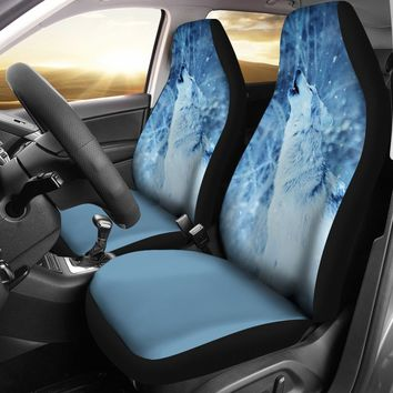 Howling Wolf Design Seat Covers