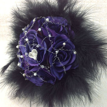 Cadbury Purple Rose Gothic Style Hand-Tied Silk Bridal Wedding Bouquet