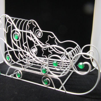 Vintage Silver Wire Sleigh Basket With Green Bling and Stars-Christmas Decor-Holiday Decor-Gift Idea-Card Holder-Centerpiece-